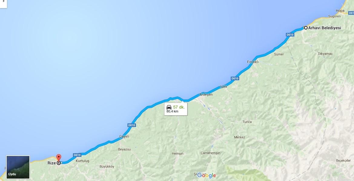 6--- 80.4 KM - Rize  Belediyesi -  Arhavi  belediyesi