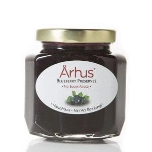 Arhus xylitol blueberry preserves front of jar