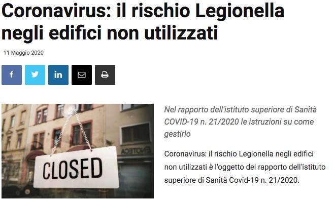coronavirus rischio legionella edifici non utilizzati