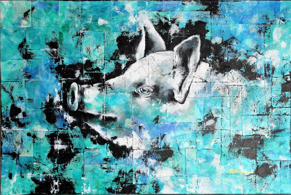 Portrait de Newman le cochon, par Ariane Bilodeau