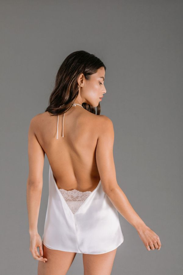 White silk satin camisole with leavers lace back