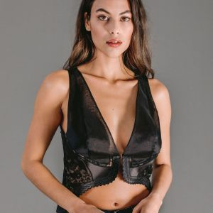Black organza vest top with Leavers lace appliques