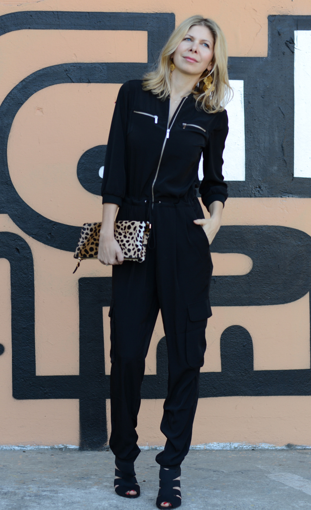 Karen Millen Jumpsuit, Clare Vivier Clutch, Outfit of the day