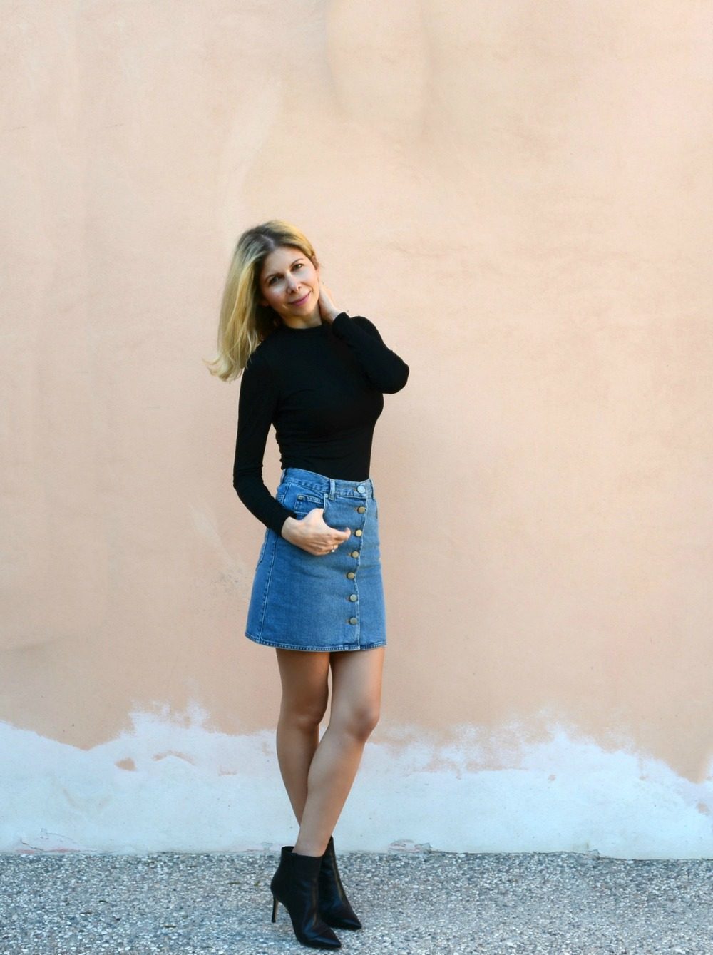 ASOS Denim skirt, Misguided turtleneck top, Russell & Bromley ankle boots.