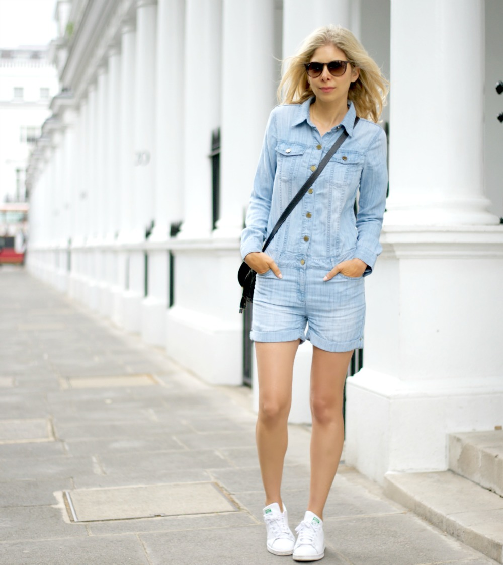 Denim Jumpsuit & Stan smiths