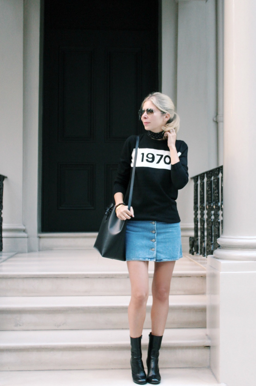 Wearing Bella Freud jumper, ASOS denim skirt, Russell & Bromley Boots, Mansur Gavriel bucket bag, Zara skinny scarf.