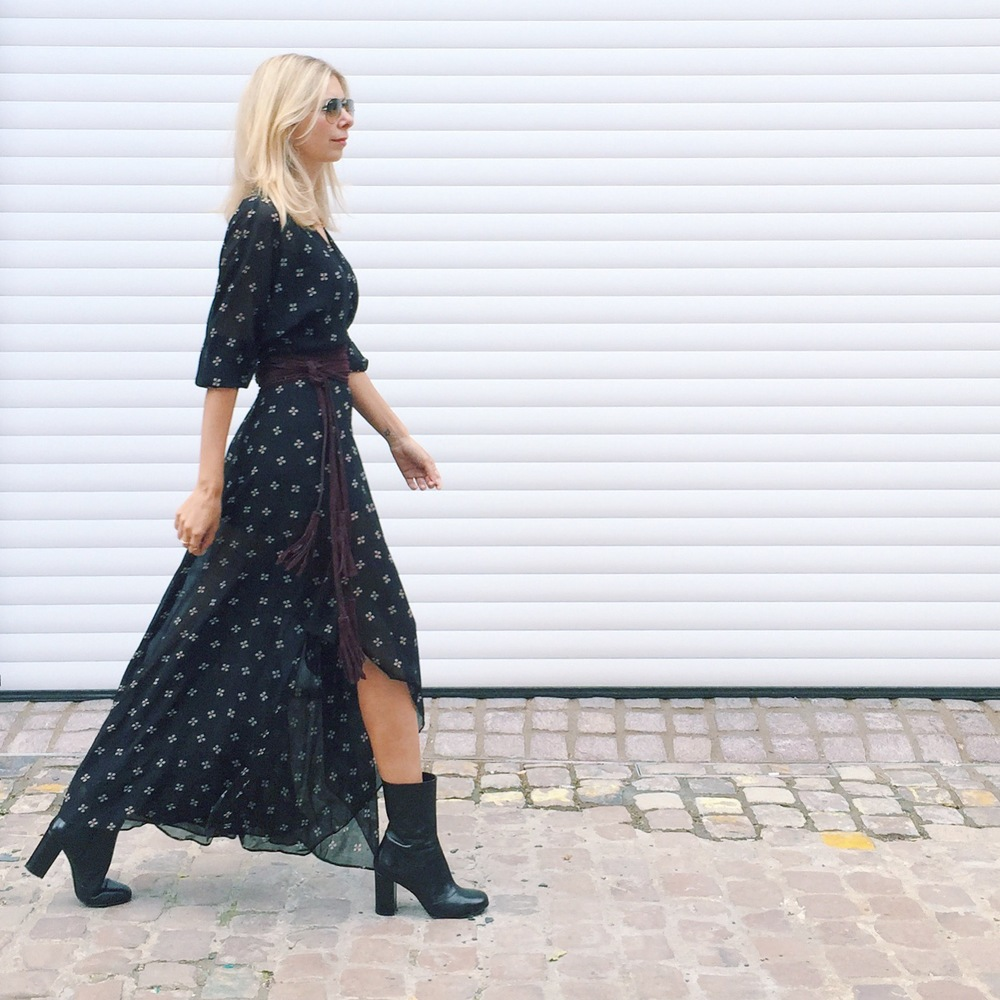 Arianna Trapani is wearing Maje boho style maxi dress, Russell & Bromley Sock boots.