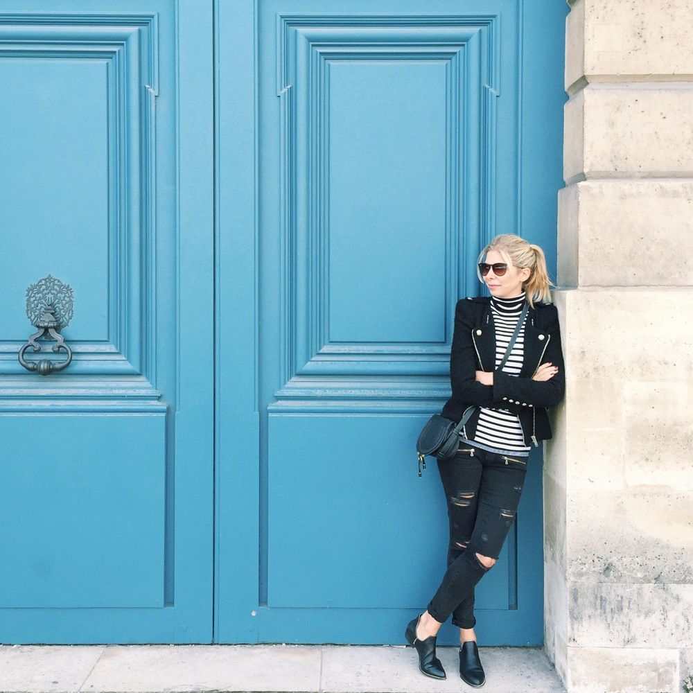 Arianna Trapani wears Zara black jacket, Paige ripped black skinny jeans, Sandro stripe jumper, Senso shoes and Chloe Marcie bag.