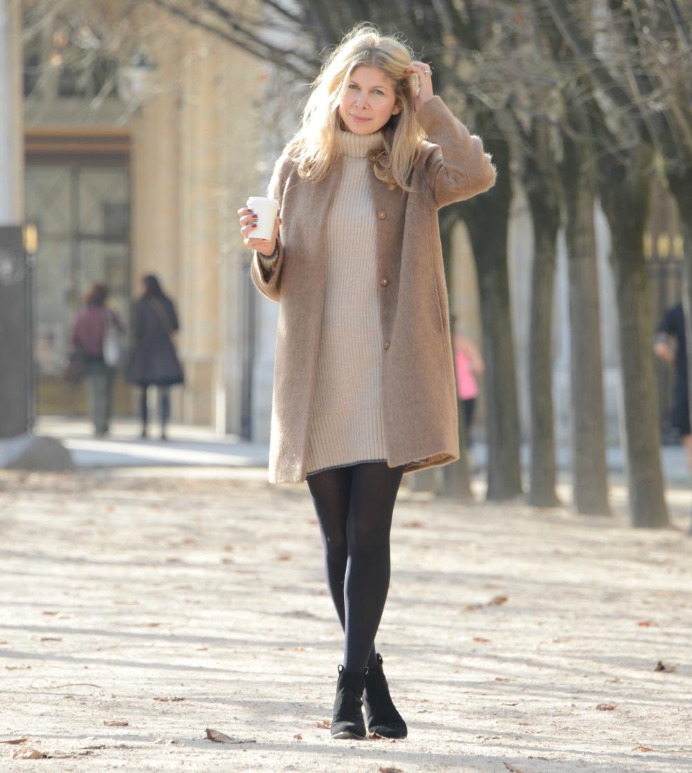 Boden Sienna Coat & Ribbed dress & Ash boots in Paris - Jardin Palais Royal