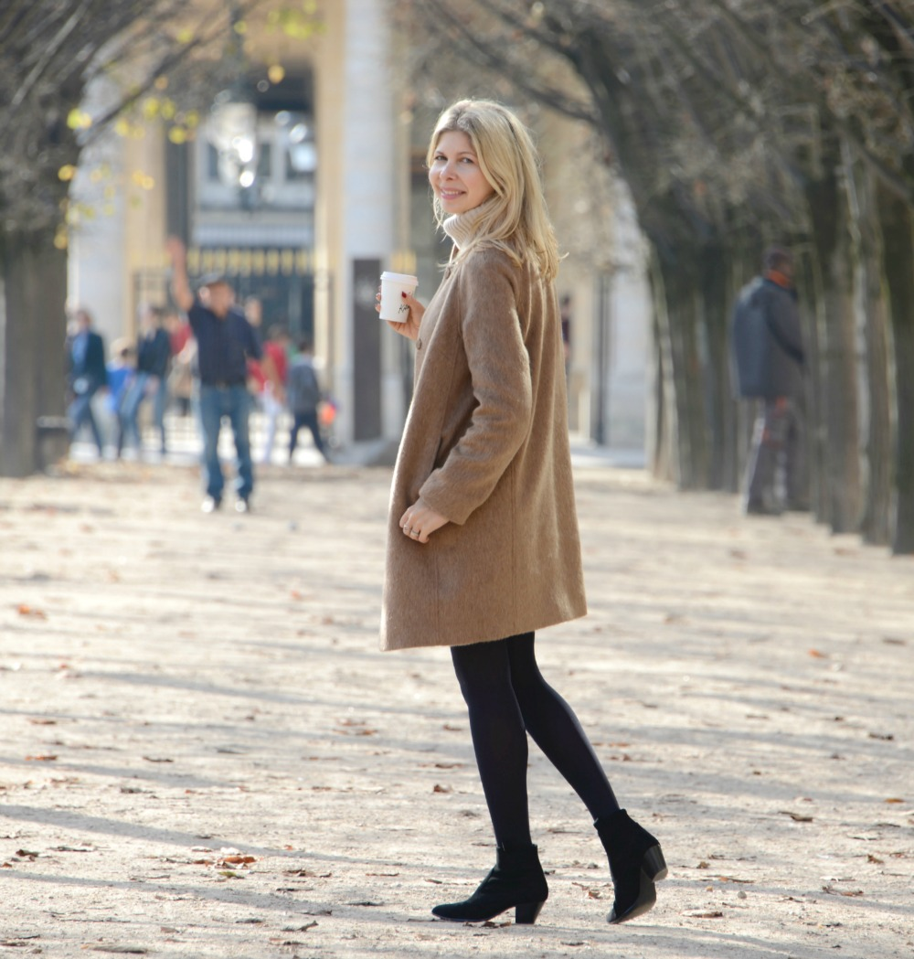 Boden Sienna Coat & Ribbed dress & Ash boots in Paris