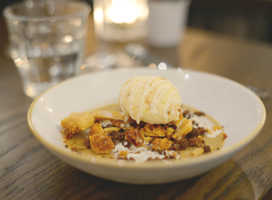 malt custard with honeycomb & hazelnut parfait at Modern & Lea