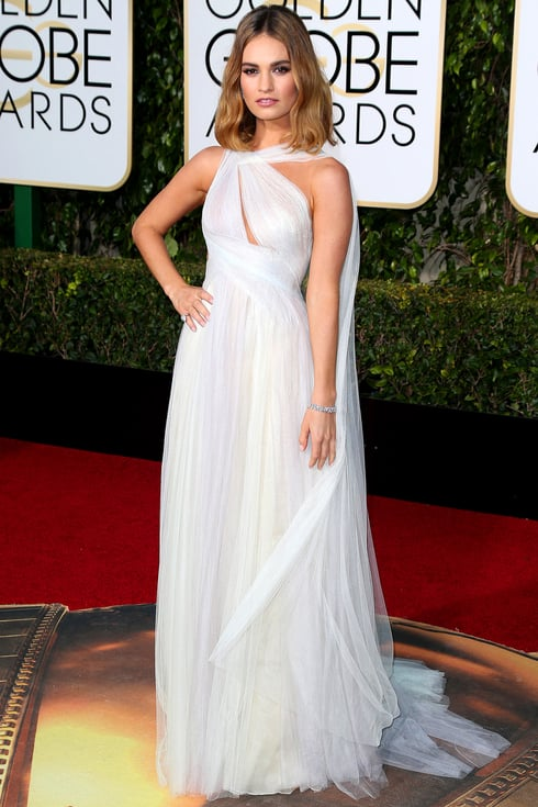 Lily James at the Golden Globes 2016