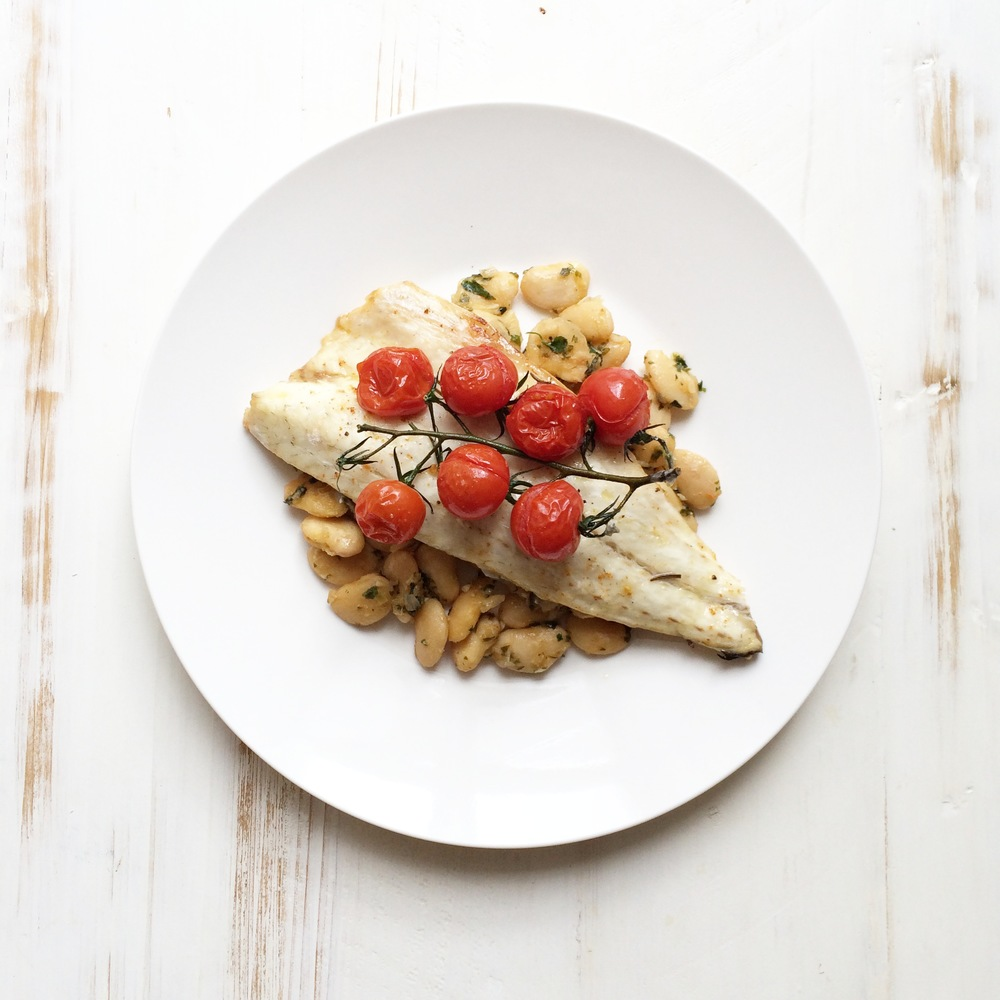 Healthy Recipe of the week:Roasted Sea Bass With Roasted Tomatoes, Butter Bean & Parsley Salad