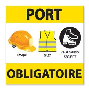 Panneau de Chantier - Panneau Port Obligatoire : Casque, Gilet et Chaussures de Sécurité