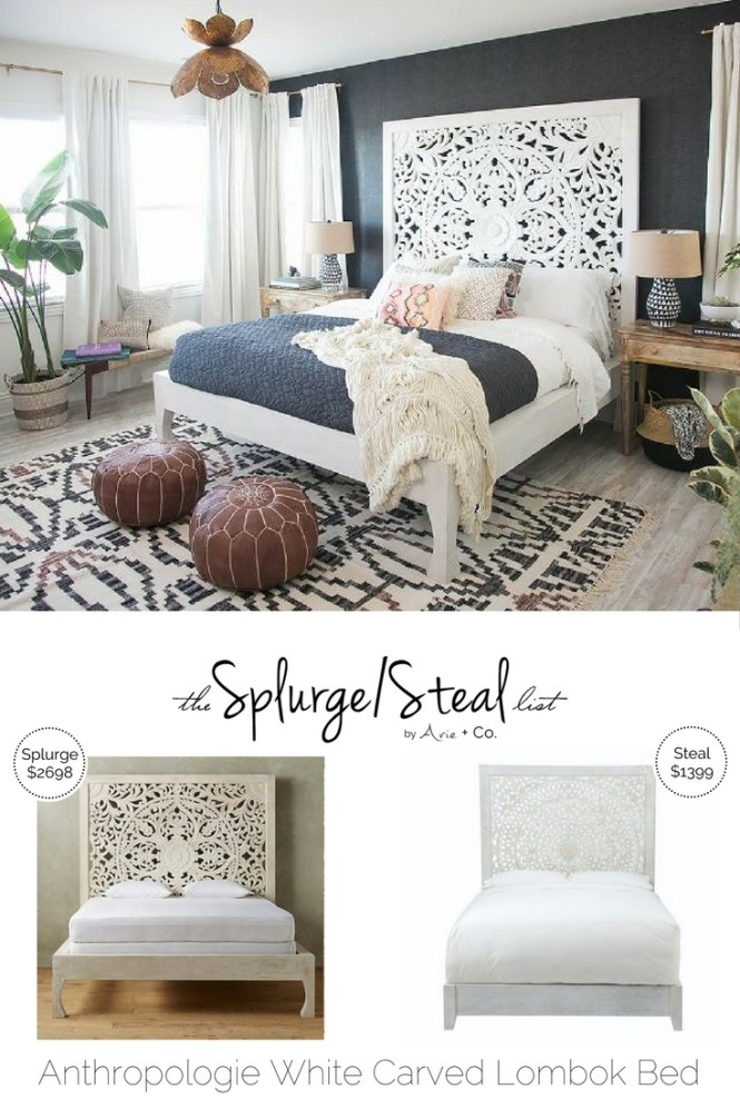 Anthropologie Lombok White Carved Wood Bed Arie Co