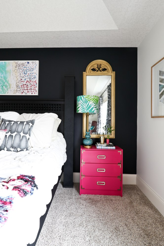 Fuchsia Pink Campaign Nightstand; Ikea Rast Hack; One Room Challenge Beachy Glam Master Bedroom Reveal: jewel tones, glam, boho, beachy
