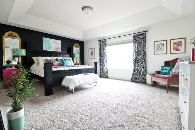 One Room Challenge Beachy Glam Master Bedroom Reveal: jewel tones, glam, boho, beachy; Sabrina Soto palm print curtains, black and white curtains
