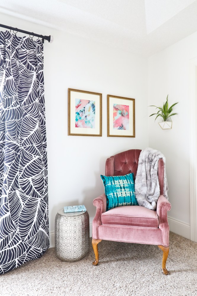 One Room Challenge Beachy Glam Master Bedroom Reveal: jewel tones, glam, boho, beachy; pink velvet vintage wing back chair; abstract art
