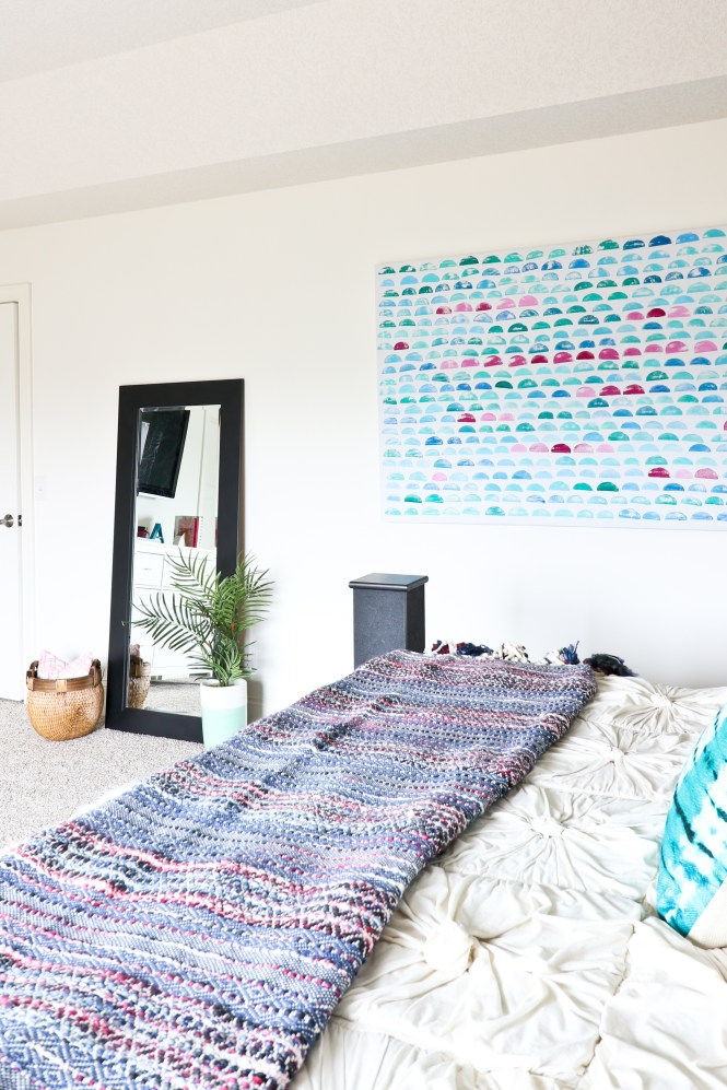 Rebecca Atwood potato printing; Emily Henderson artwork; One Room Challenge Beachy Glam Master Bedroom Reveal; beachy, boho, eclectic, glam, jewel tones; modern art, artwork, abstract art