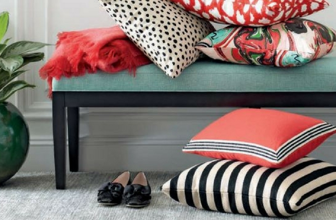 Kate Spade Double Stripe Pillow Cheaper Alternative; Knockoff Knock Off Dupe; Design on a Dime; Look for Less; Budget Decorating Decor
