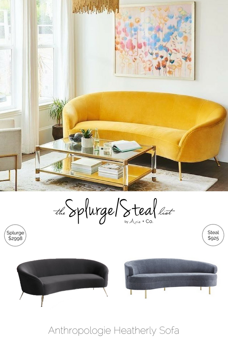 Anthropologie Heatherly Sofa Cheaper Alternative; Knockoff Knock Off Dupe;  Design On A Dime;