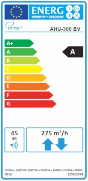 Etichetta Energetica AHU 300 BV Ensy - Arieggiare