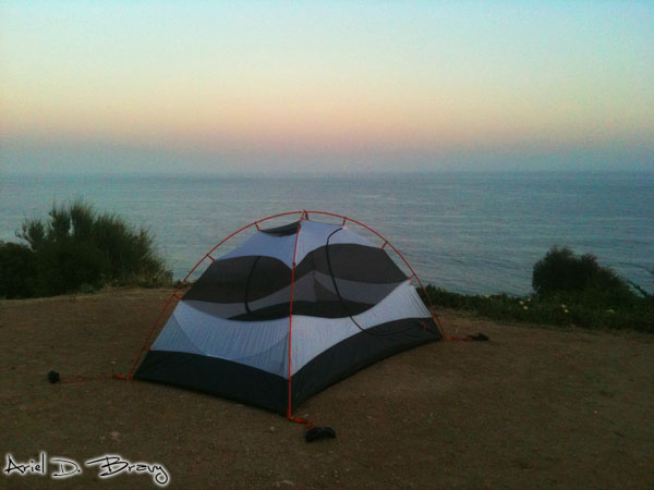 Coastal camping sunset