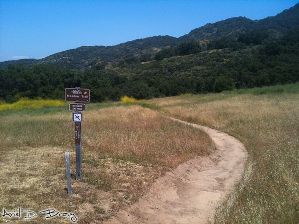 Trail maker at the start of the hike into Topanga