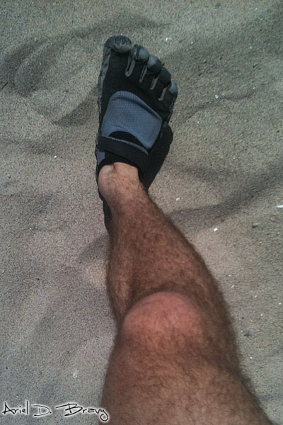 Vibram Five Fingers KSO's on the beach