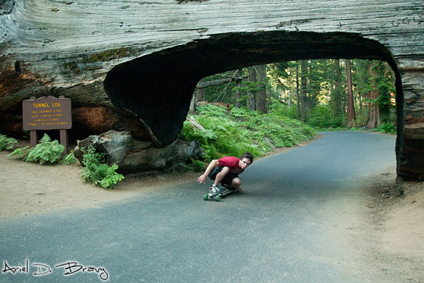 Alex longboarding through Tunnel Log