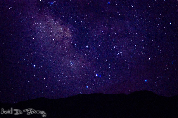 Milky Way and stars over the mountains
