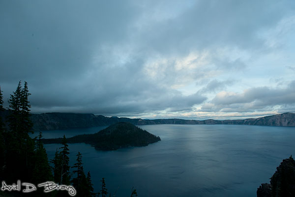 Looking down into Crater Lake before sunset