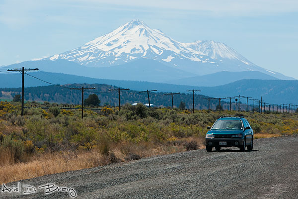 On the highway in front of Mt. Shasta