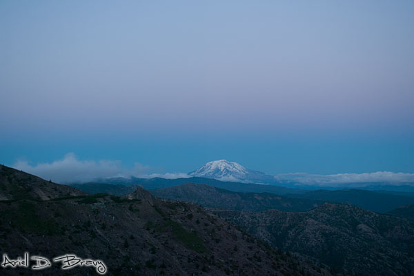 Rainier in the distance at sunset