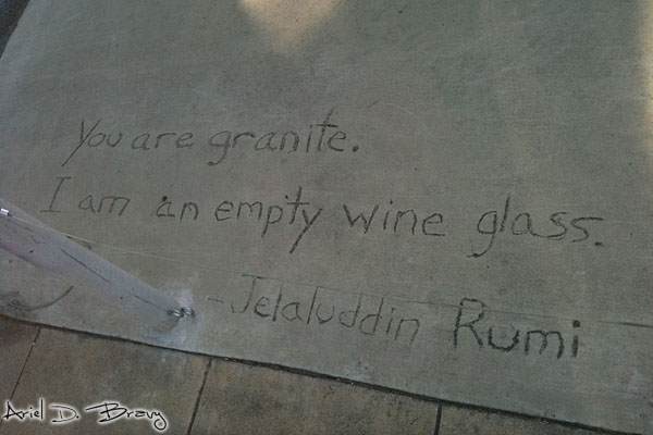 Rumi quote on the sidewalk in Berkeley