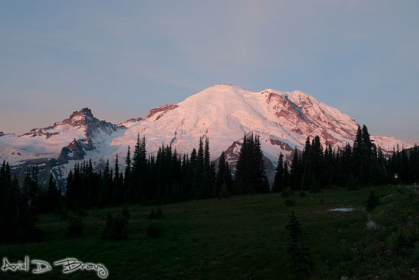 Sunrise and an ice patch at Mt. Rainier