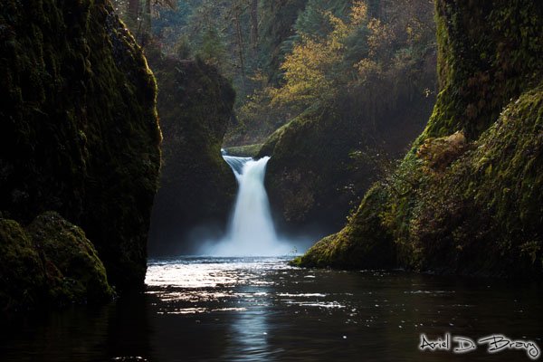 Classic view of Punchbowl Falls while standing in bitingly cold water