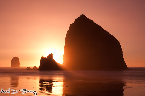 Haystack Rock at sunset, long exposure