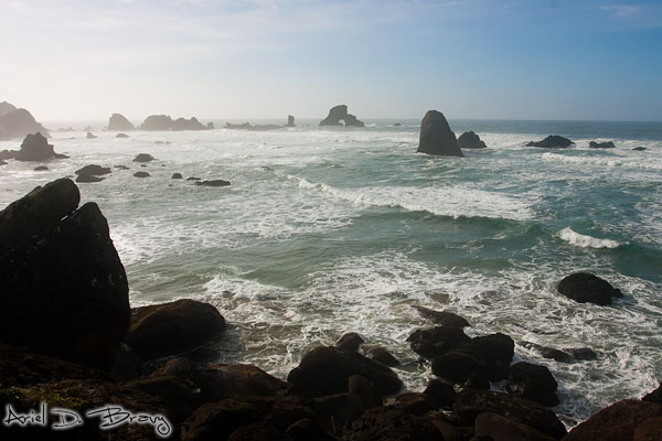 Looking towards Arch Rock from the coastal boulders