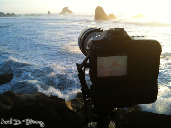 Shooting Arch Rock at sunset