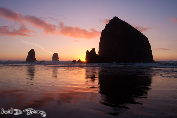 Sunset reflections at Cannon Beach