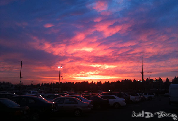Colorful parking lot sunset
