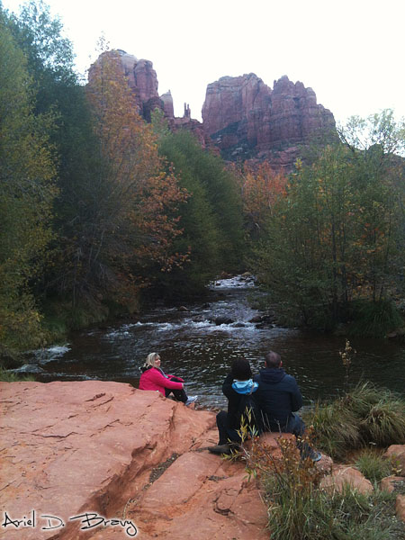 On the edge of the red stone, looking at Cathedral Rock