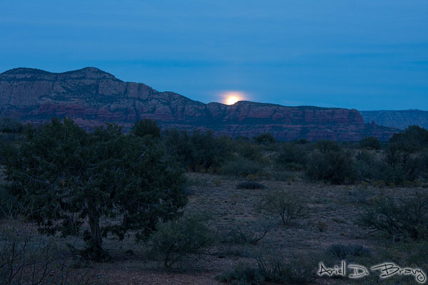 The moon quickly rising behind these rocks as we're heading out from Shaman's cave
