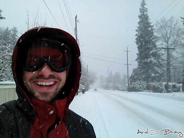 Me having a blast hiking in the snow