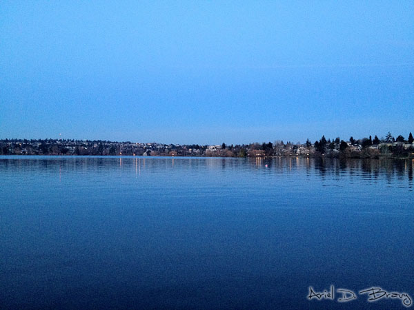 Looking across Green Lake post-sunset