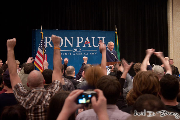 The crowd cheers as Ron Paul finishes and leaves the stage
