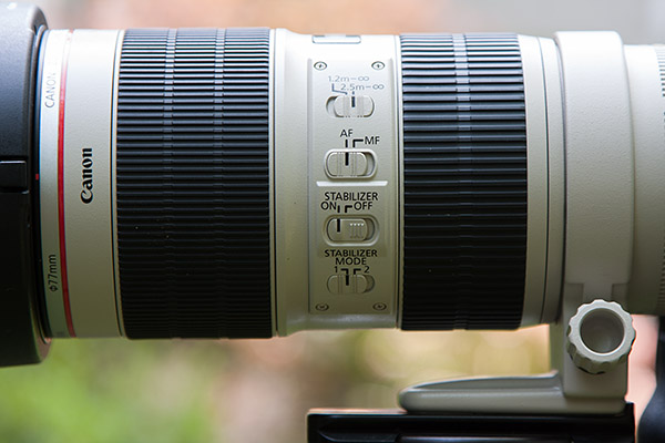Closeup of the Canon 70-200 2.8 IS switches