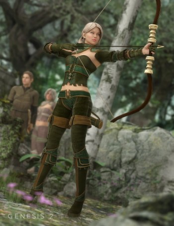 Woodland Huntress Textures for Genesis 2 Female
