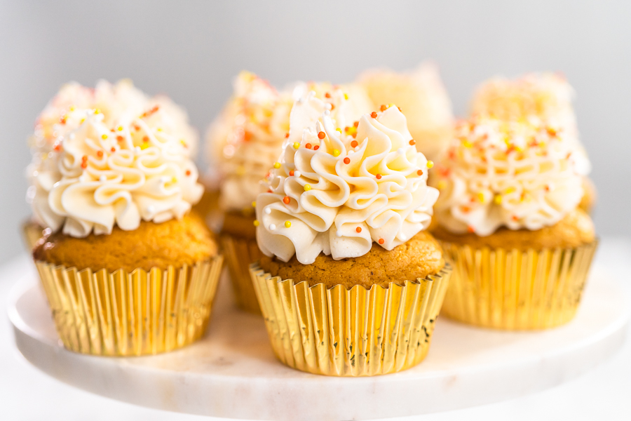 Pumpkin Cupcakes With Italian Buttercream Frosting